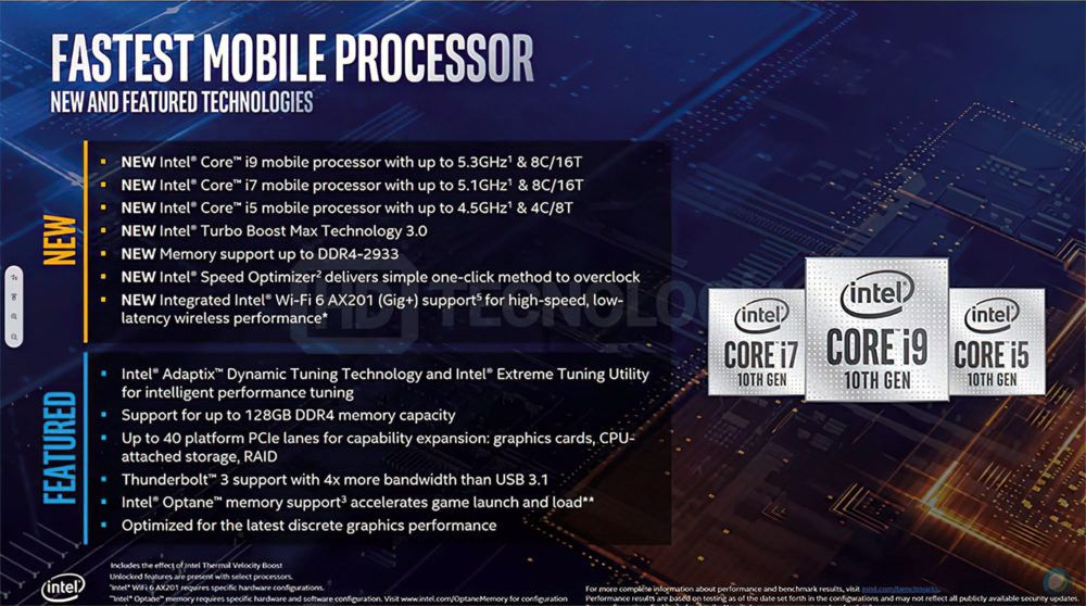 Intel Comet Lake-H uncovered: 10th generation filtered