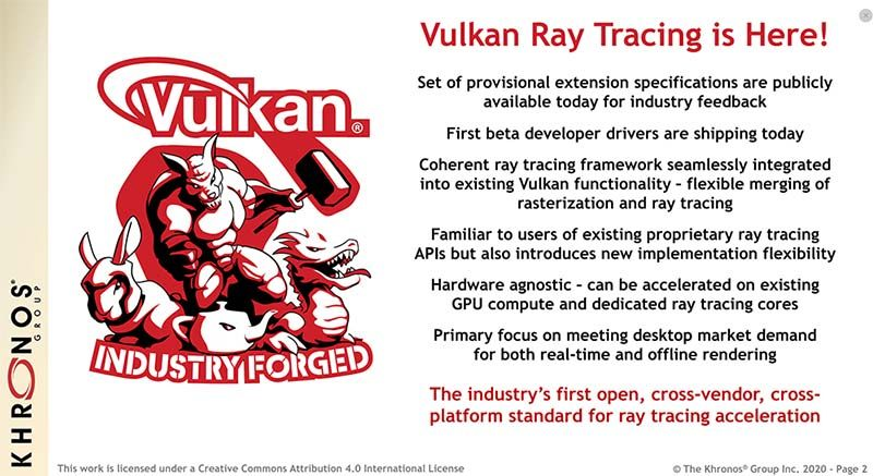 Vulkan adds ray tracing support for all brands and expanded support for NVIDIA RTX
