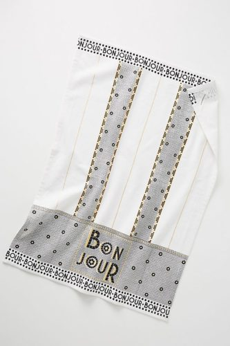 White and Black Embroidered Bonjour Towel