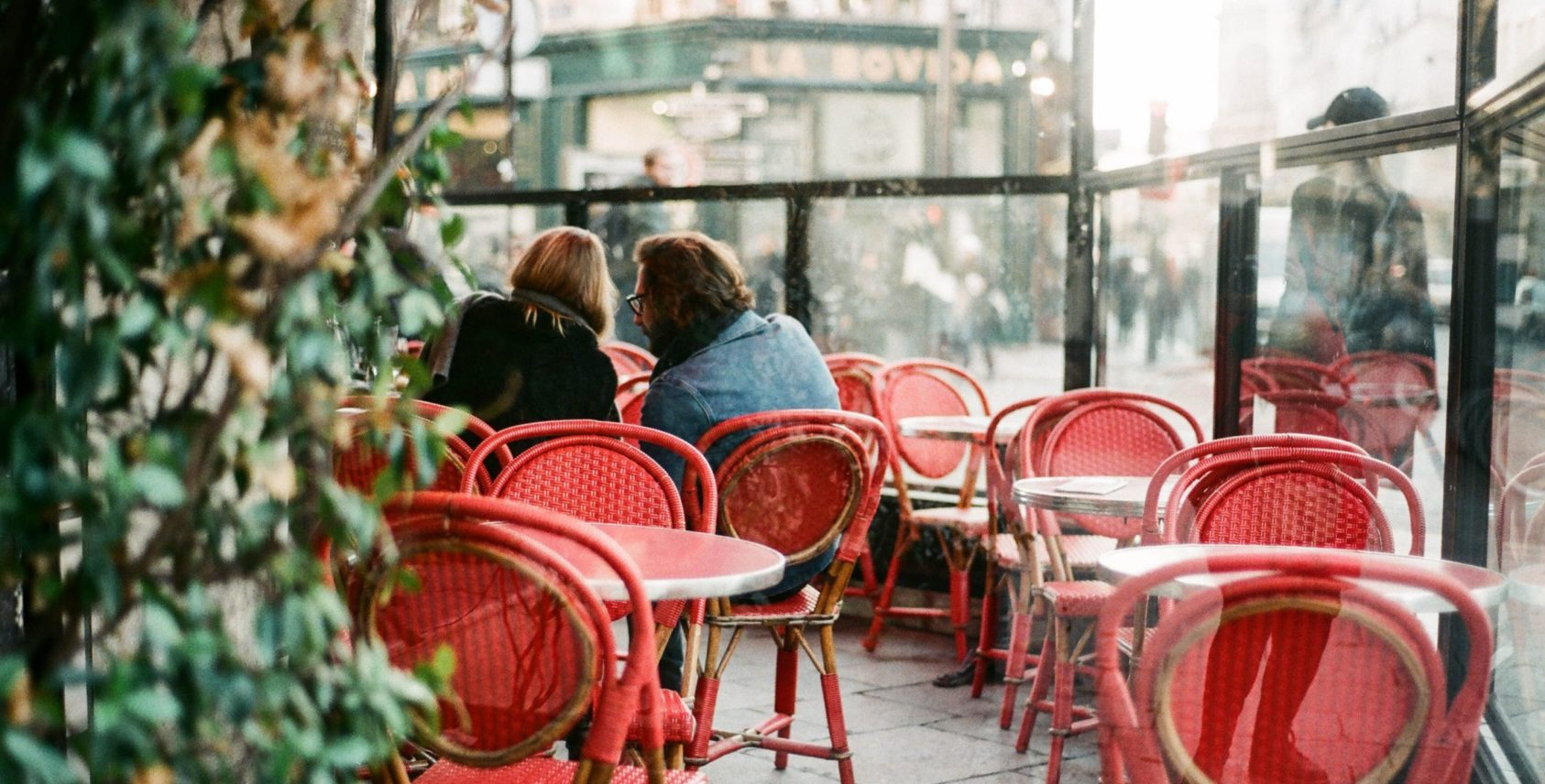 Red table and chairs Paris France