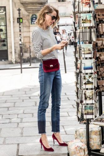 denim with pop of color - burgundy purse and shoes