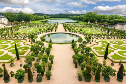 aerial view of french garden