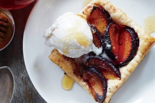 French plum & honey tarts with whipped cream