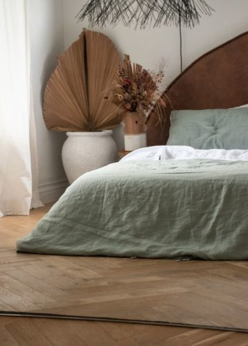 French linen bedding sage green