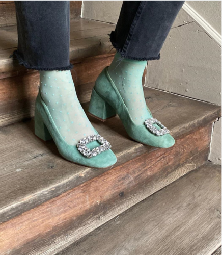 teal green heels with clasp