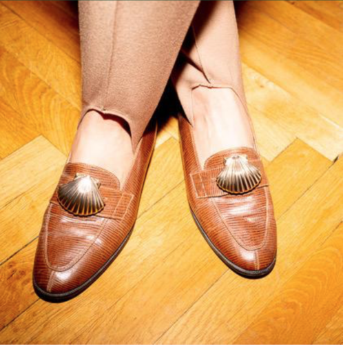 brown leather loafers, with clasp