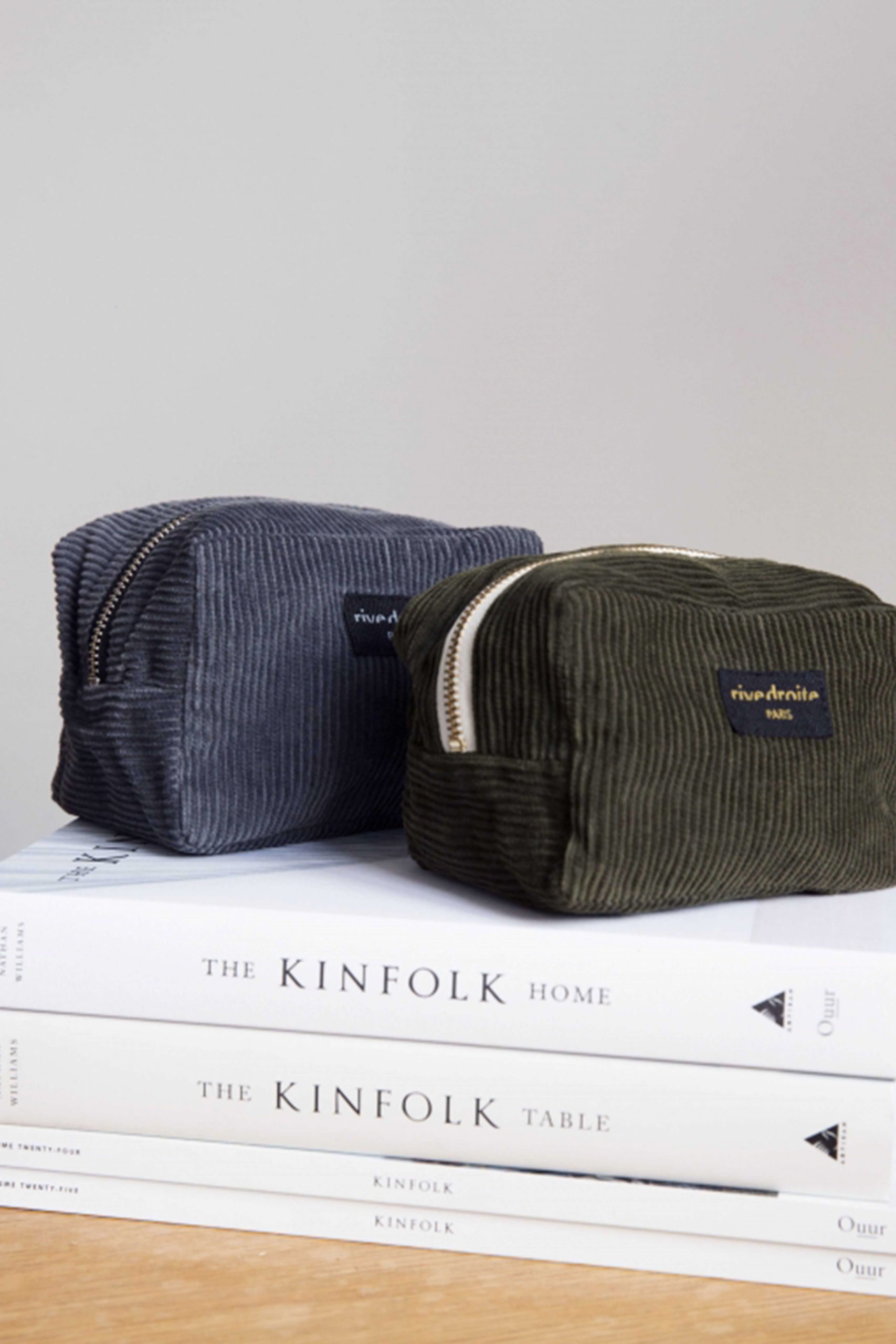 Rive Droite green and denim pouch