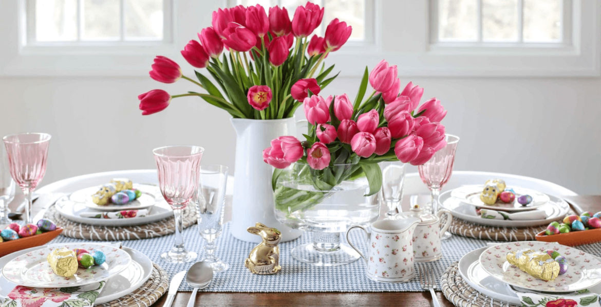 flower table decor for Easter