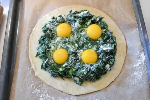 Spinach, goat cheese, 4 raw eggs