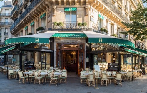 Les Deux Magotswith green awning and white chairs