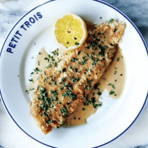 Sole Meuniere on white plate