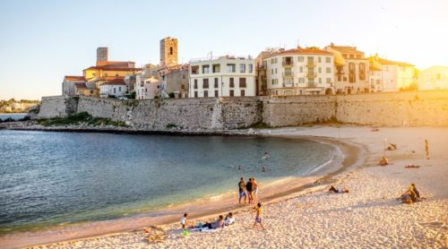Antibes beach with buildings in background