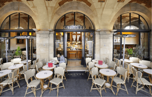 Carette paris patio with white tables and chairs