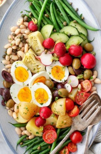 white beans in a colorful Nicoise Salad