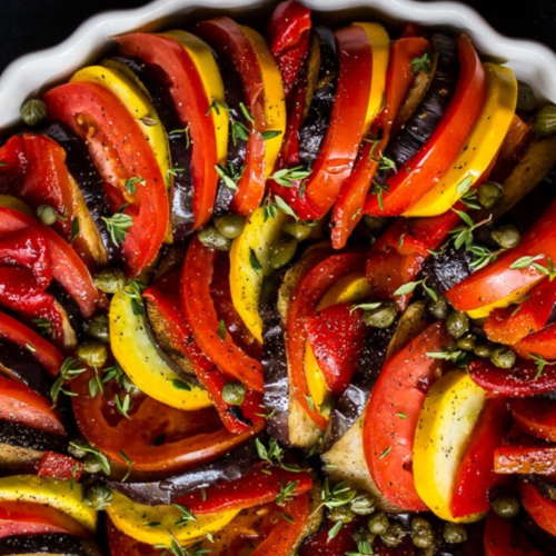 baked peppers and vegetables