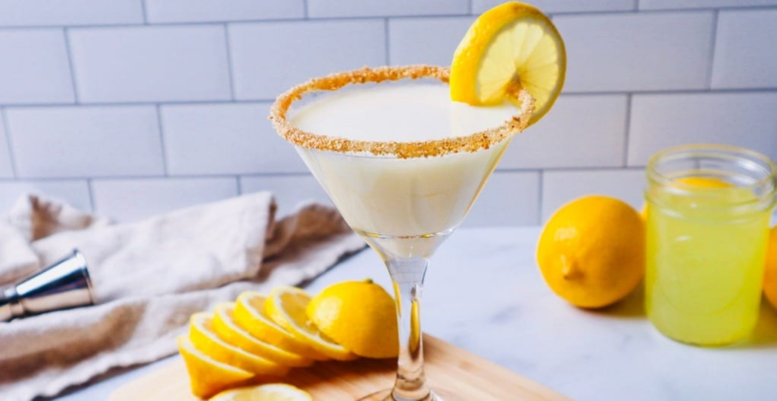 French cocktail with orange slice