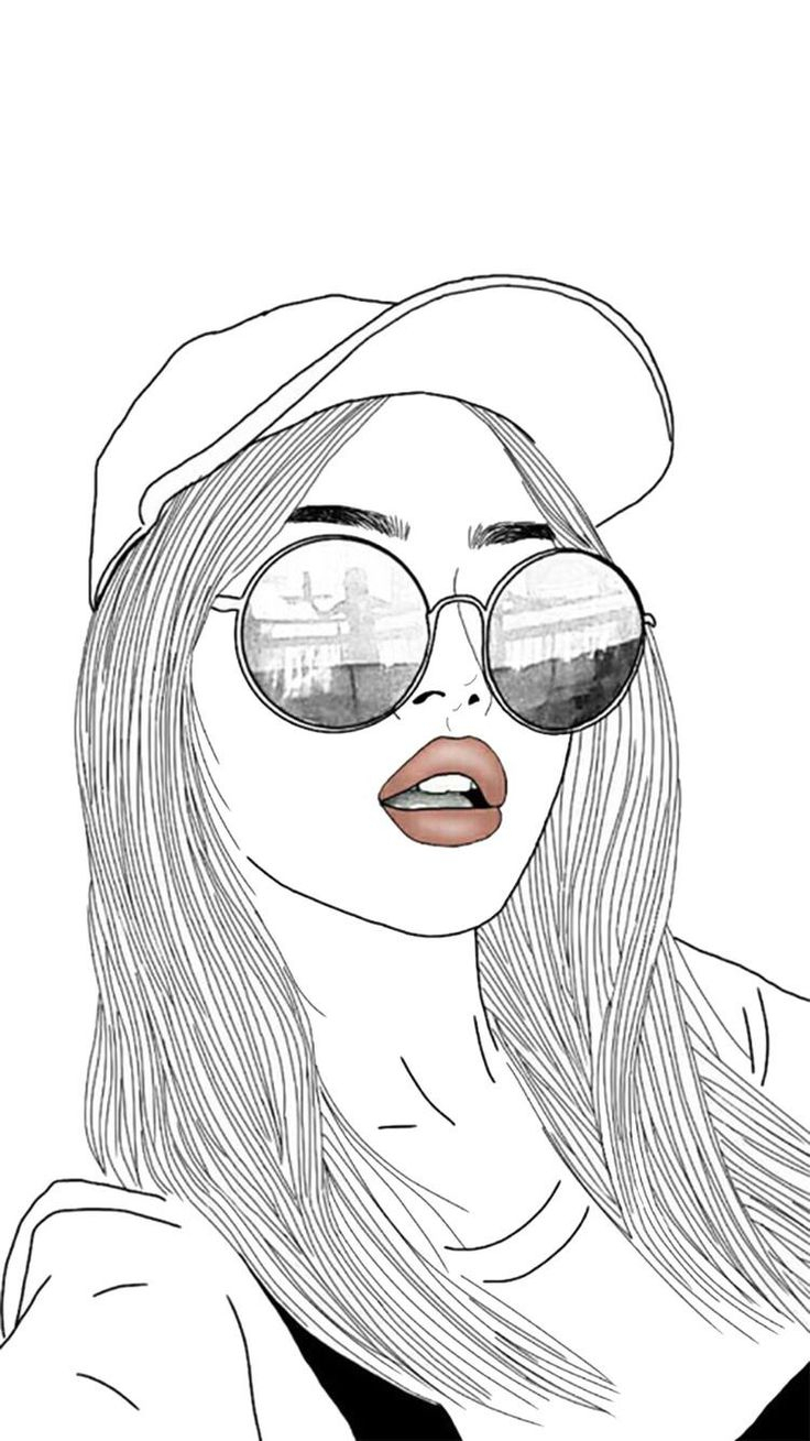 Cute Black And White Girl Wallpaper Drawing