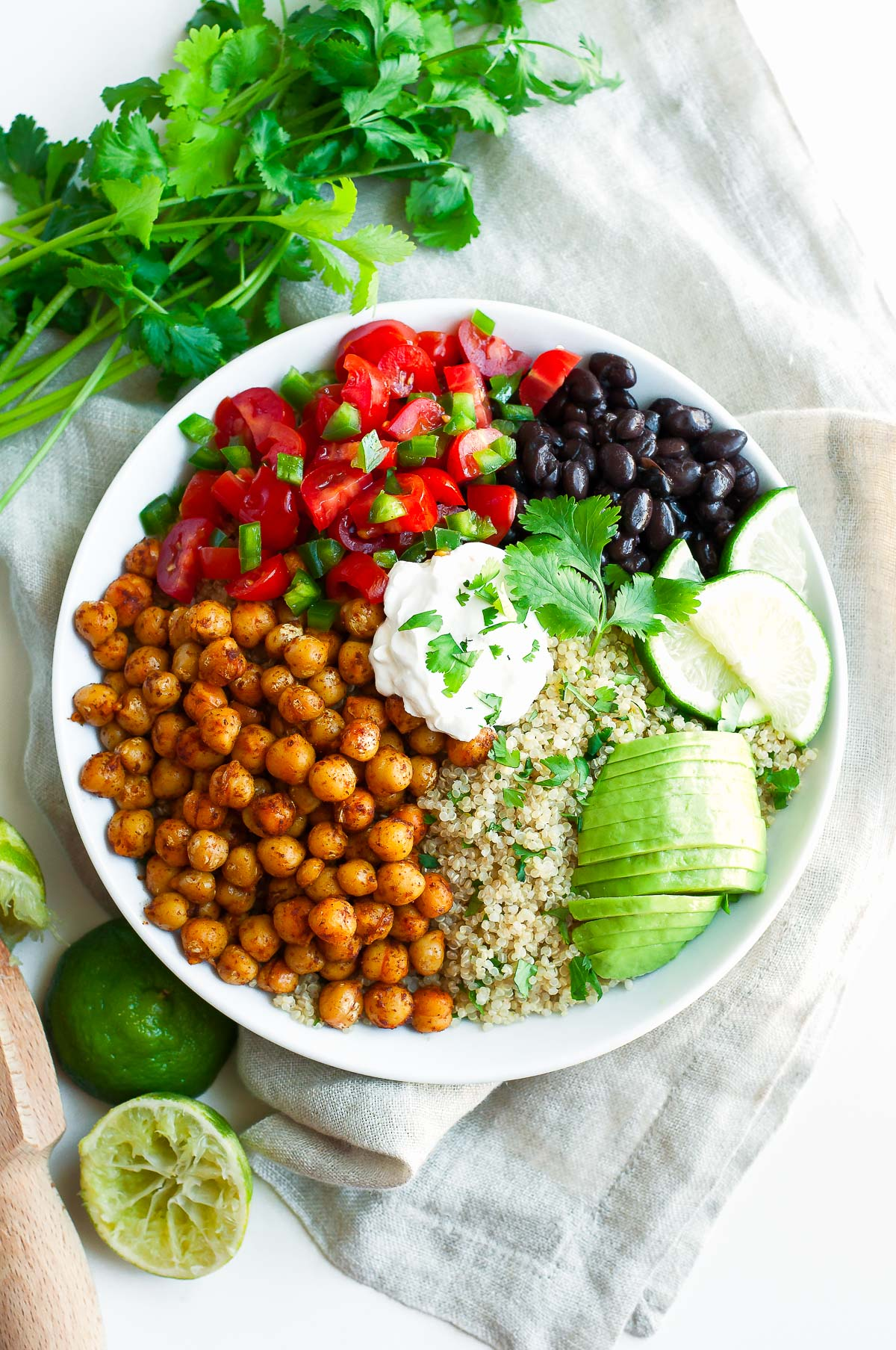 Roasted Chickpea Quinoa Taco Bowls   Peas and Crayons