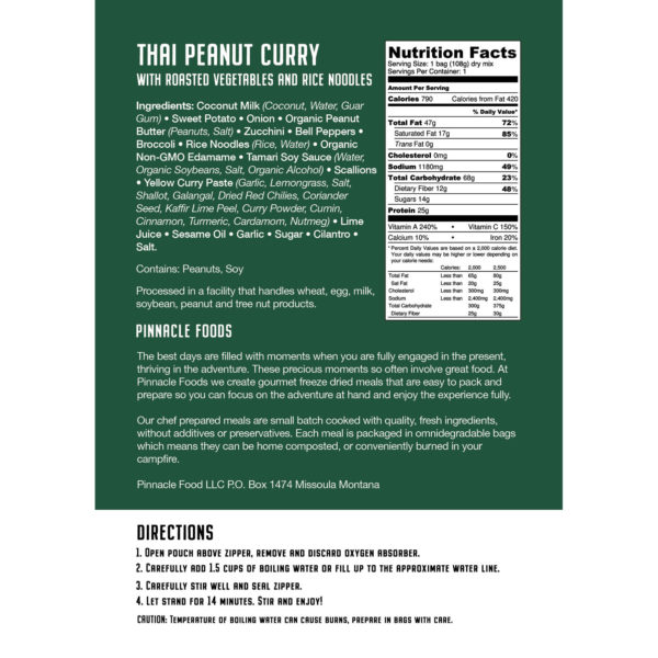 Nutrition Label for Peanut Thai