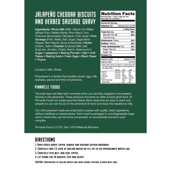 Nutrition Label for Biscuits and Gravy