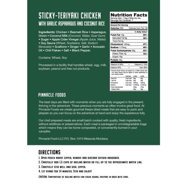 Nutrition Label for Sticky Chicken