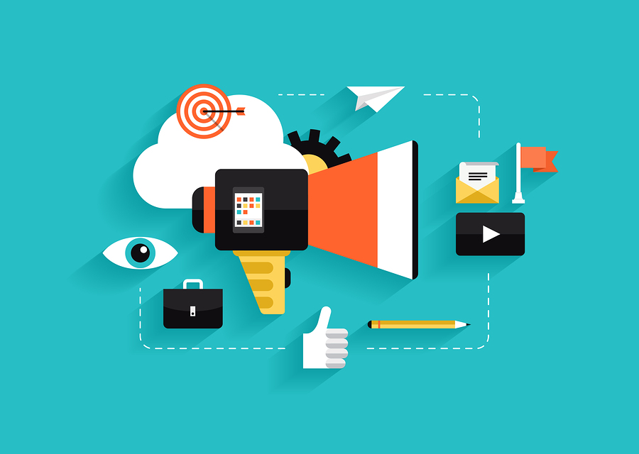 Flat design style modern vector illustration concept with icons of social media marketing digital marketing online advertising process creative business internet strategy and market promotion development. Isolated on stylish color background.