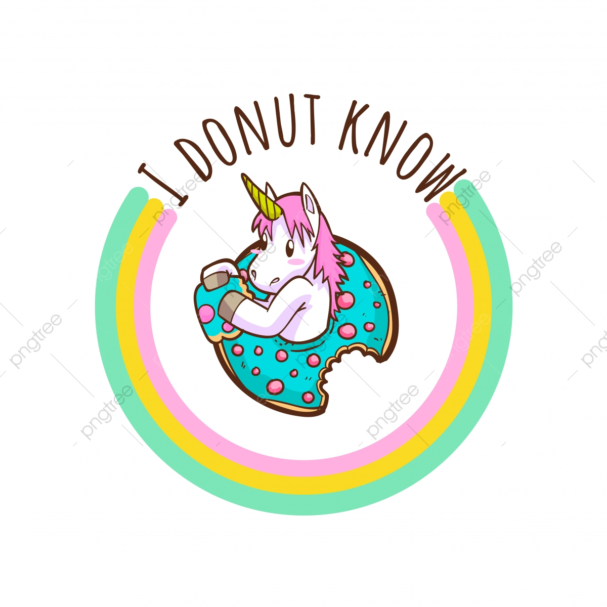 pngtree cute unicorn and donuts quotes png image 4252546