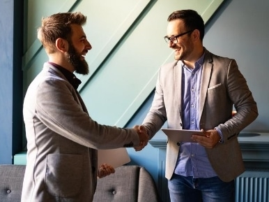 Business handshake and business people concept. Partnership deal agreement 1