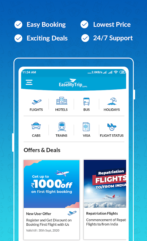 Cheap Flights, Hotel, Bus & Book IRCTC: EaseMyTrip