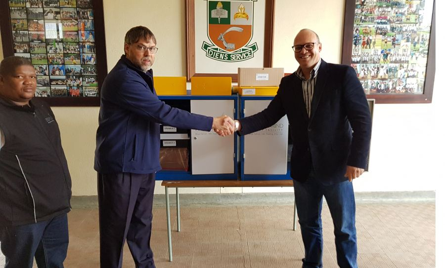 seen at the handover event at Tulbagh High School  from  left to right ;  Johannes Thomas , Principal Andre' van der Merwe and Irfaan Petersen.