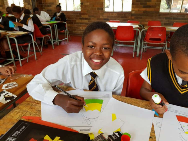 Qhobosheane grade six and seven learners creatively celebrating their teachers at the Adopt-a-School Big Books event at their school this morning.