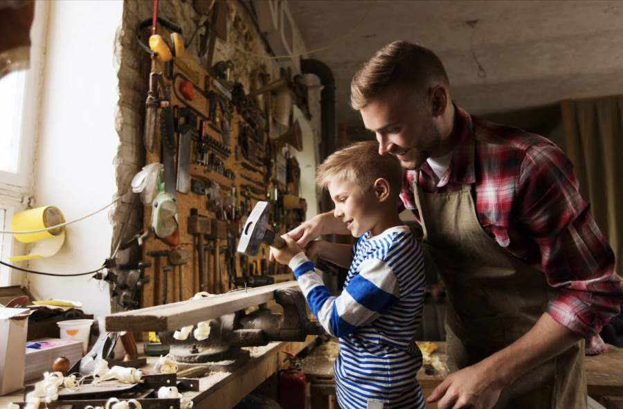 Father and Son in the workshop