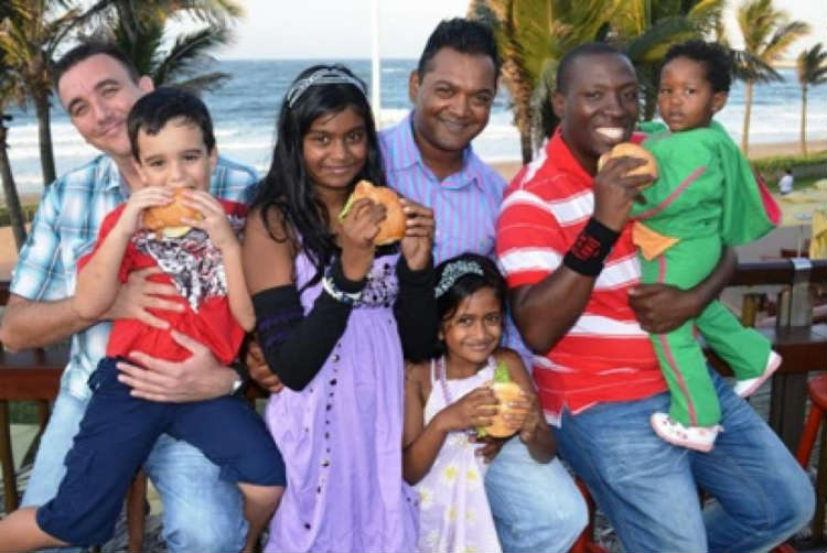 File Photo - Deserving Dad's with their little one's - DJ Spike with Jake; Valentino with Tatiana & Latanya and Kwanza with little Anele