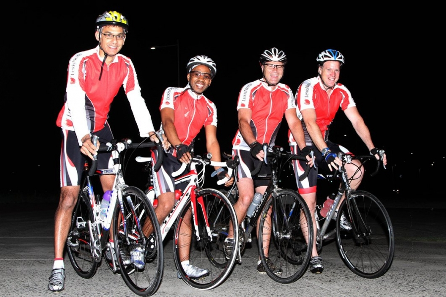 Out on an early morning practice ride are LexisNexis senior managers Roshen Moodley, Thabo Molefe, Billy Last and Dustin Rees