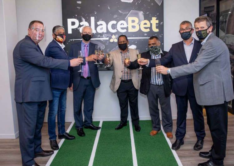 A toast to the opening of Peermont's first online sports book, PalaceBet, by (left to right) International Gaming Executive Bob Yearham, Western Cape Gaming Board ICT Head Alwin Matthews, Peermont CEO Nigel Atherton, Western Cape Gaming Board CEO Primo Abrahams, Western Cape Gaming Board Compliance Head Robin Bennet, PalaceBet.co.za General Manager Iain Gutteridge and Peermont Gaming Executive Billy Gray.
