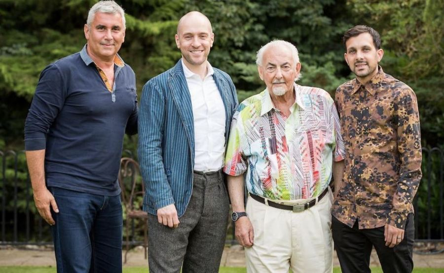 David Berglas, renowned magician and newly appointed Member of the Order of the British Empire with Marvin Berglas, Derren Brown and Dynamo.