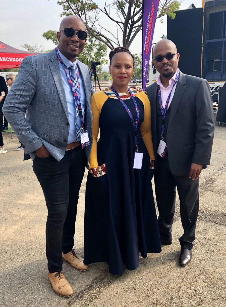 Television presenter, MacFarlane Moleli with TSRF representatives, Ntokozo Mabusela and Mandla Nkosi, at the official launch of the 2019 Hollard Highway Heroes competition in Johannesburg.