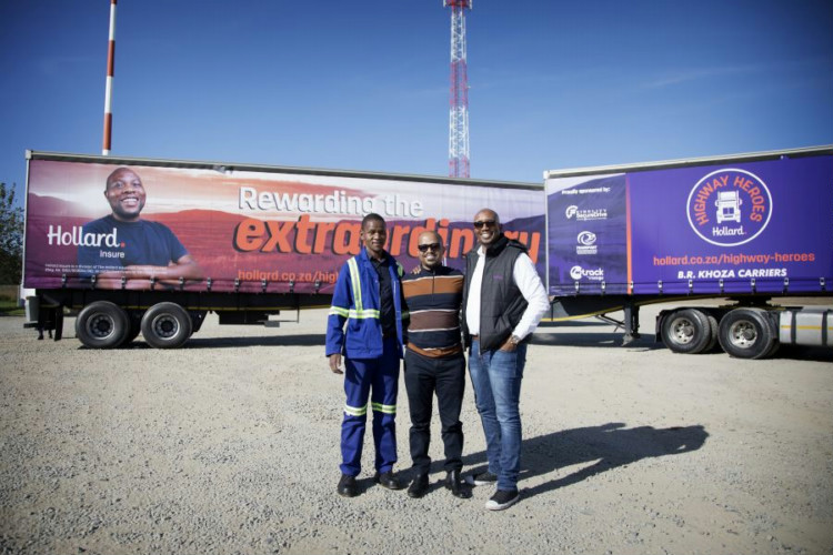 Truck driver, Patrick Zuma of B.R. Khoza Carriers joined Mandla Nkosi of the Transport Sector Retirement Fund and television presenter, Macfarlane Moleli to promote the 2019 Hollard Highway Heroes competition to fleet owners and fellow drivers in the trucking industry.
