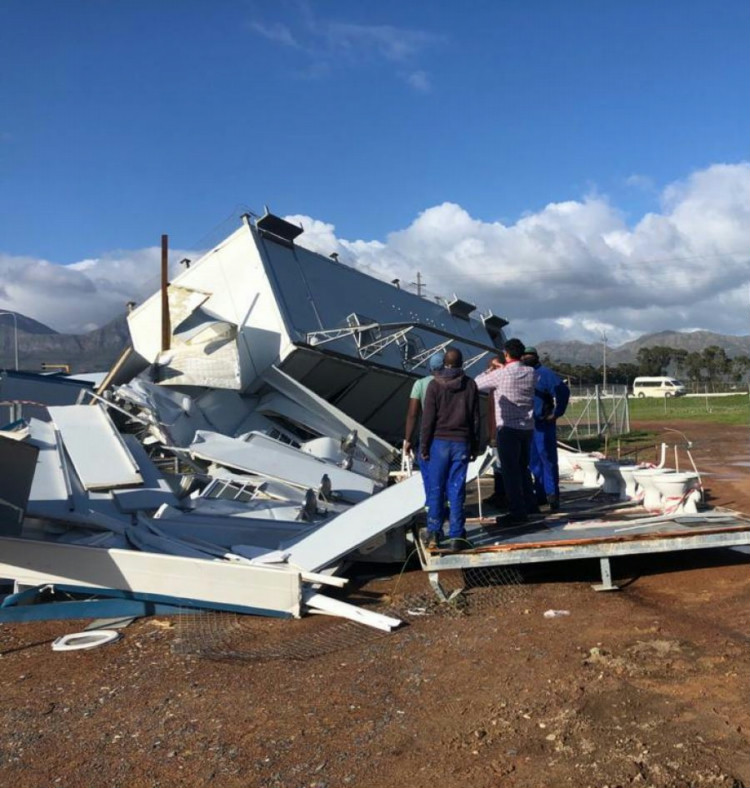 The aftermath. Non-Kwikspace prefabricated buildings at Nomzamo High                         School were destroyed by winds in excess of 100 km/h.