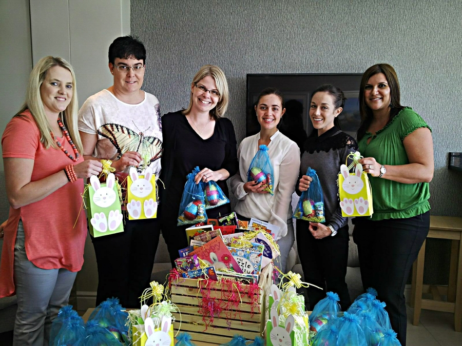 Rushmere Noach team look forward to spreading the joy ahead of the Easter weekend with the Igazi Foundation Oncology Ward from left; Lizette Hanekom, Madeleine Taljaard, Liane Koorsse, Shelby Roberts, Jessica Scott and Donné Reed.