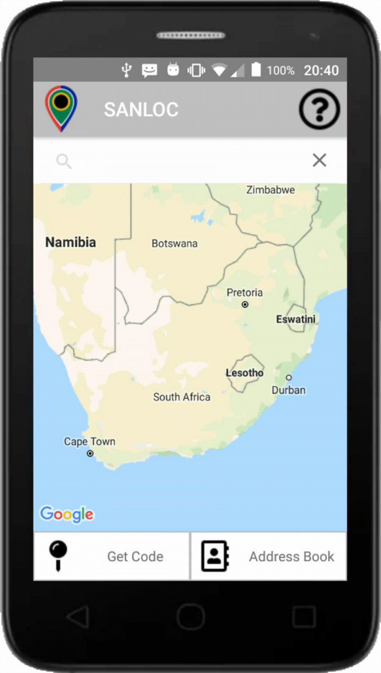 South African National Location System App in action