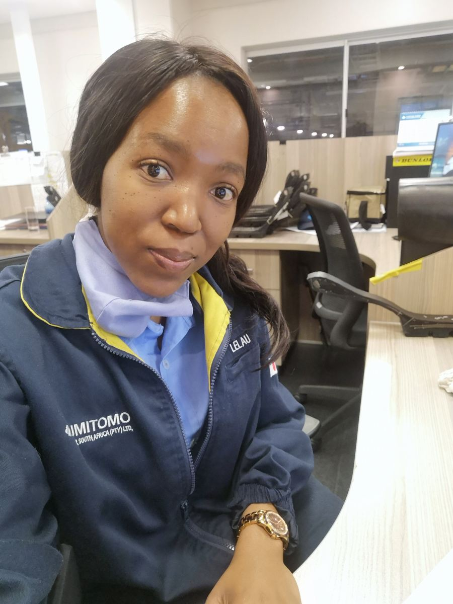 """Lelau Mojela, Process Engineer, Sumitomo Rubber South Africa: TBR Development Department (manufacturer of Dunlop tyres) says, """"Never be scared to take challenges. We learn through new experiences."""""""