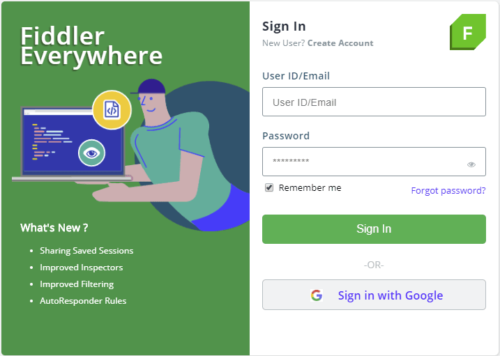 Fiddler Signup/Sign-in Screen