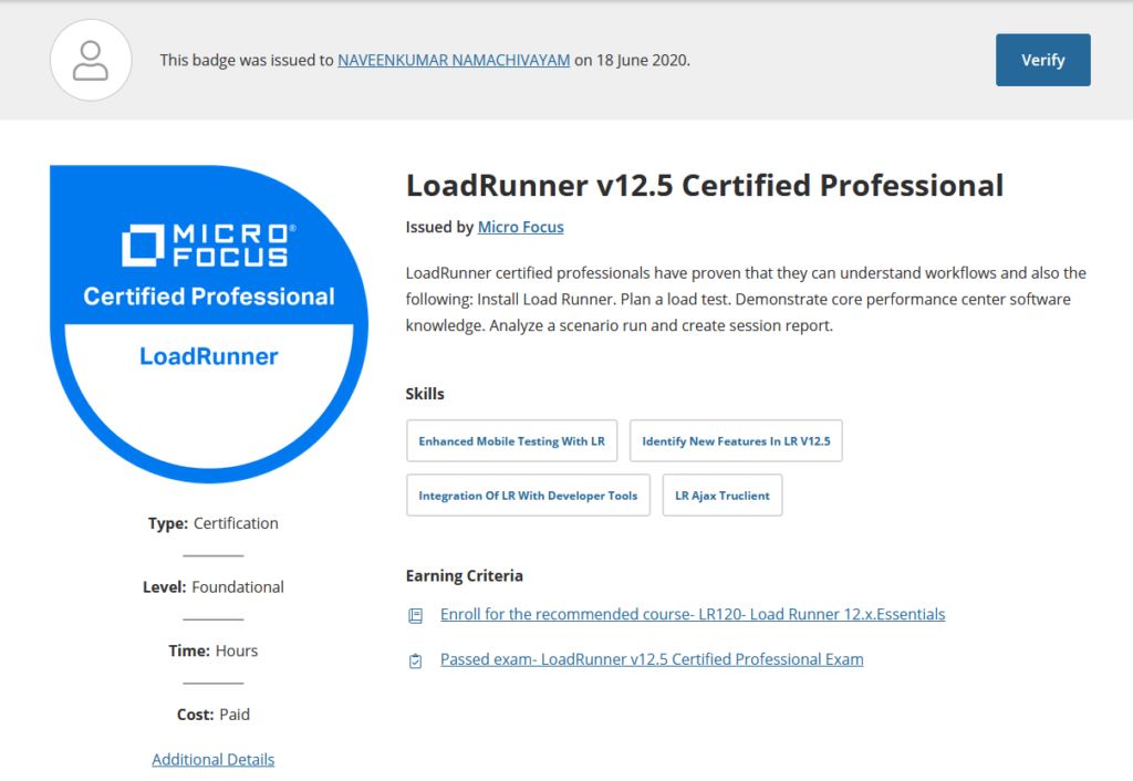 How I successfully cleared Micro Focus LoadRunner Certification?