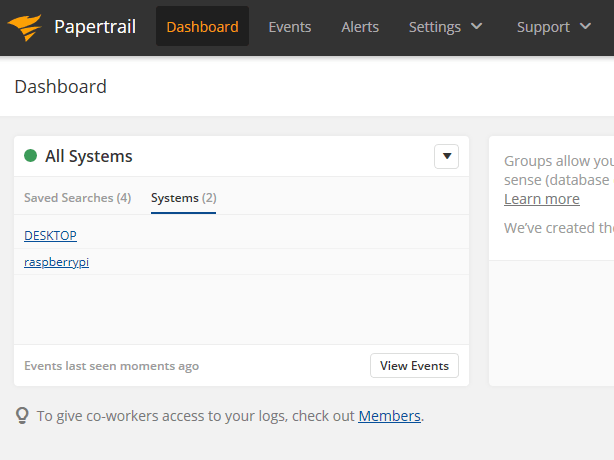 Papertrail Dashboard