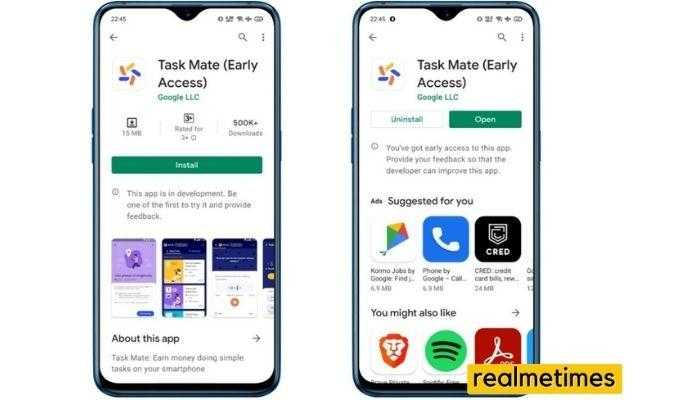 Google Task Mate app on Google Play Store in an Android phone