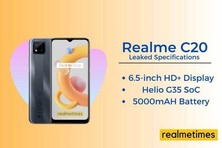 Realme C20 Leaked Specifications