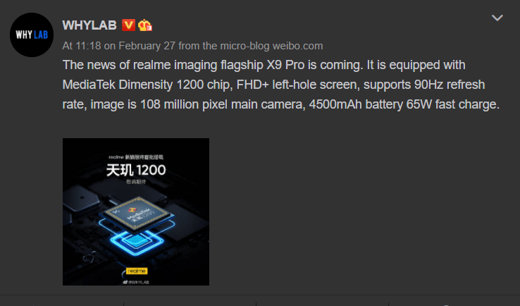 Realme X9 Pro leaked weibo post about the camera and CPU