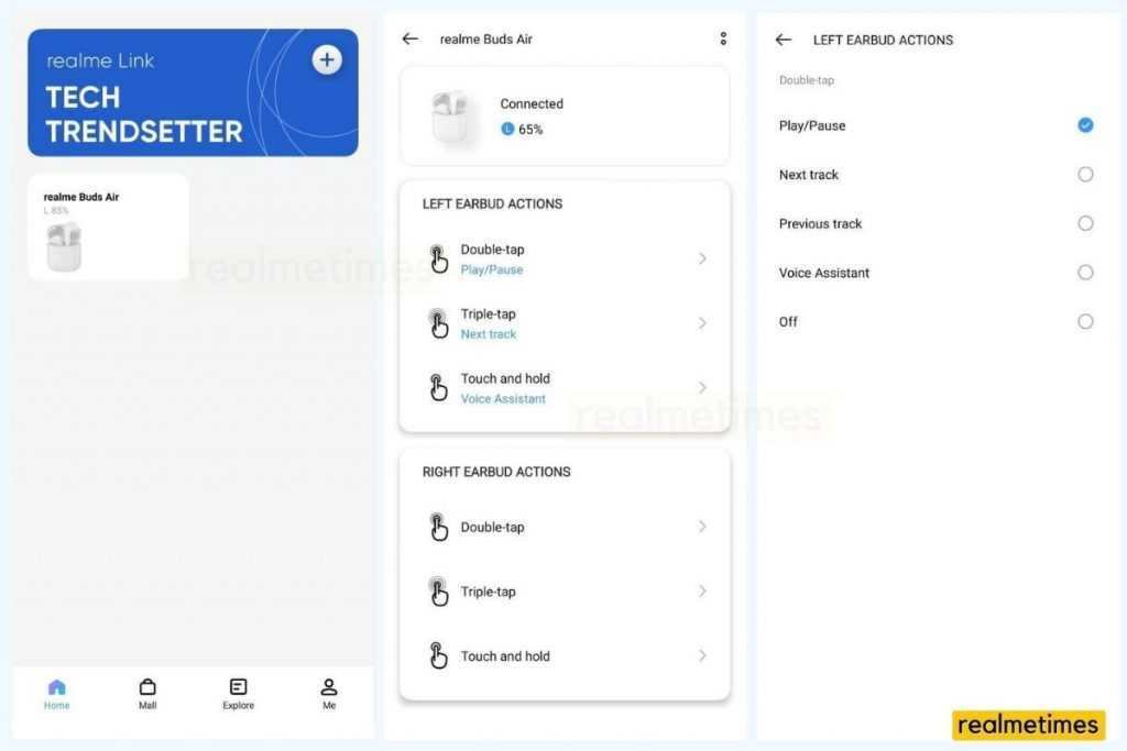 How to Customize Touch Controls on Buds Air or Buds Air 2 with Realme Link