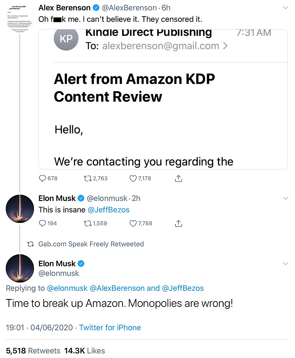 Elon Musk called for the break up of Amazon (Twitter - @elonmusk)